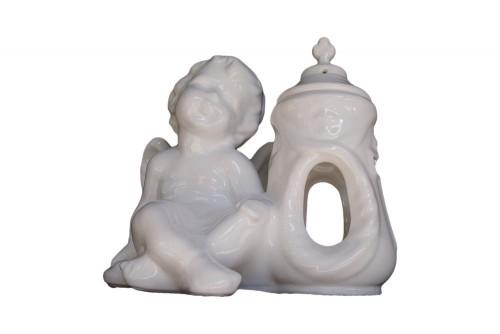 Duży znicz ceramiczny z aniołkiem