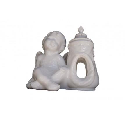 Duży znicz ceramiczny - aniołek lewy