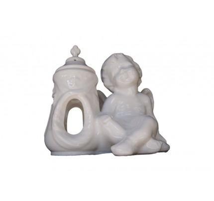 Duży znicz ceramiczny - aniołek prawy