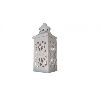 Lampion ceramiczny z witrażami