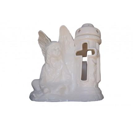 Znicz ceramiczny z aniołkiem