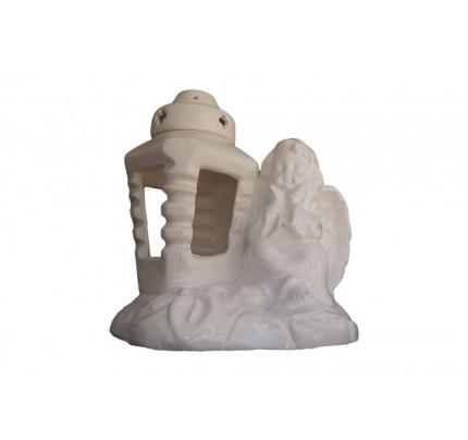 Znicz ceramiczny - zamyślony anioł