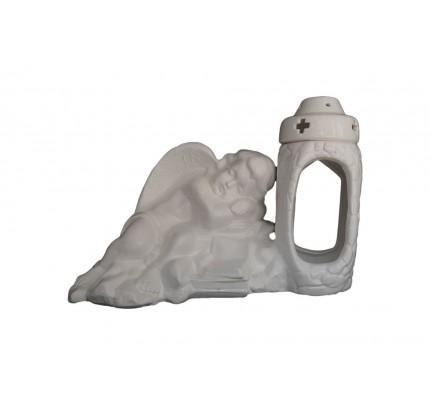 Znicz ceramiczny - śpiący aniołek