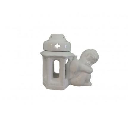 Znicz ceramiczny kapliczka z amorkiem